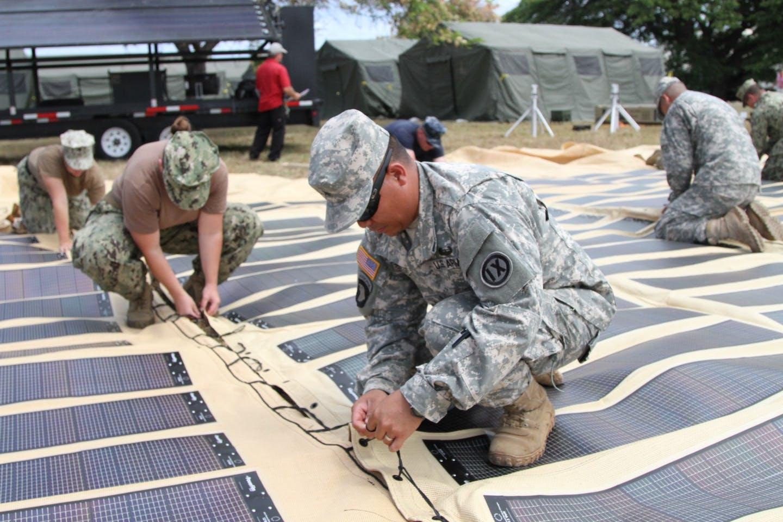 US army installing solar canopy