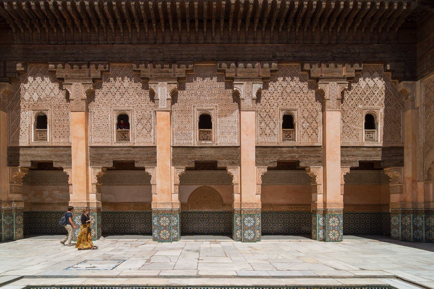 Tourists visiting Medersa Ben Youssef, in Marrakech, Morroco.