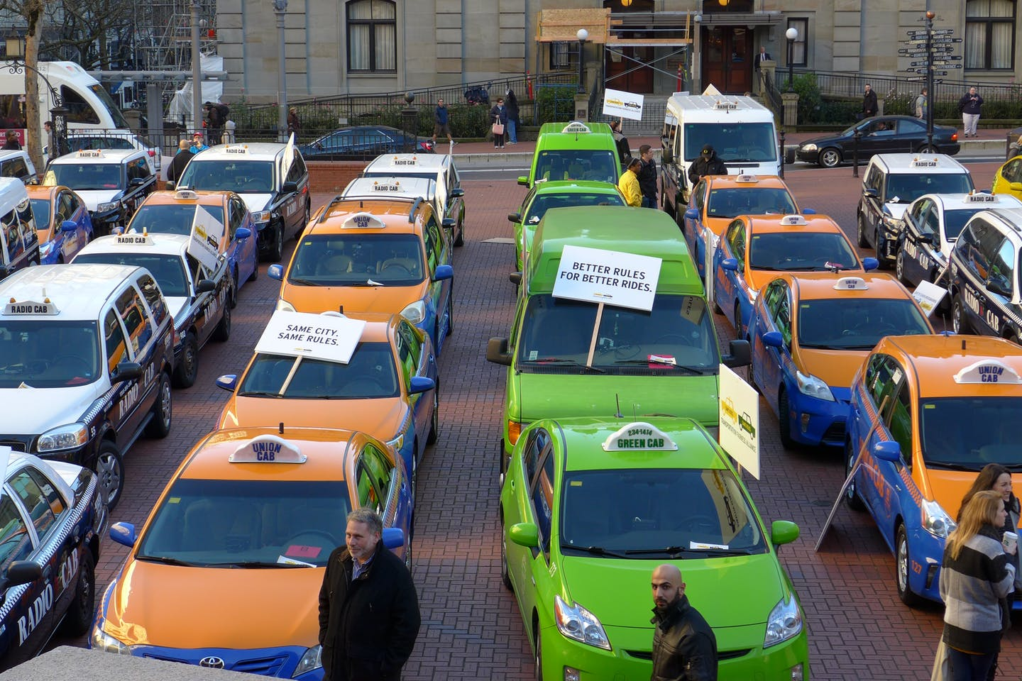 Protest against ride-sharing services in Portland, US