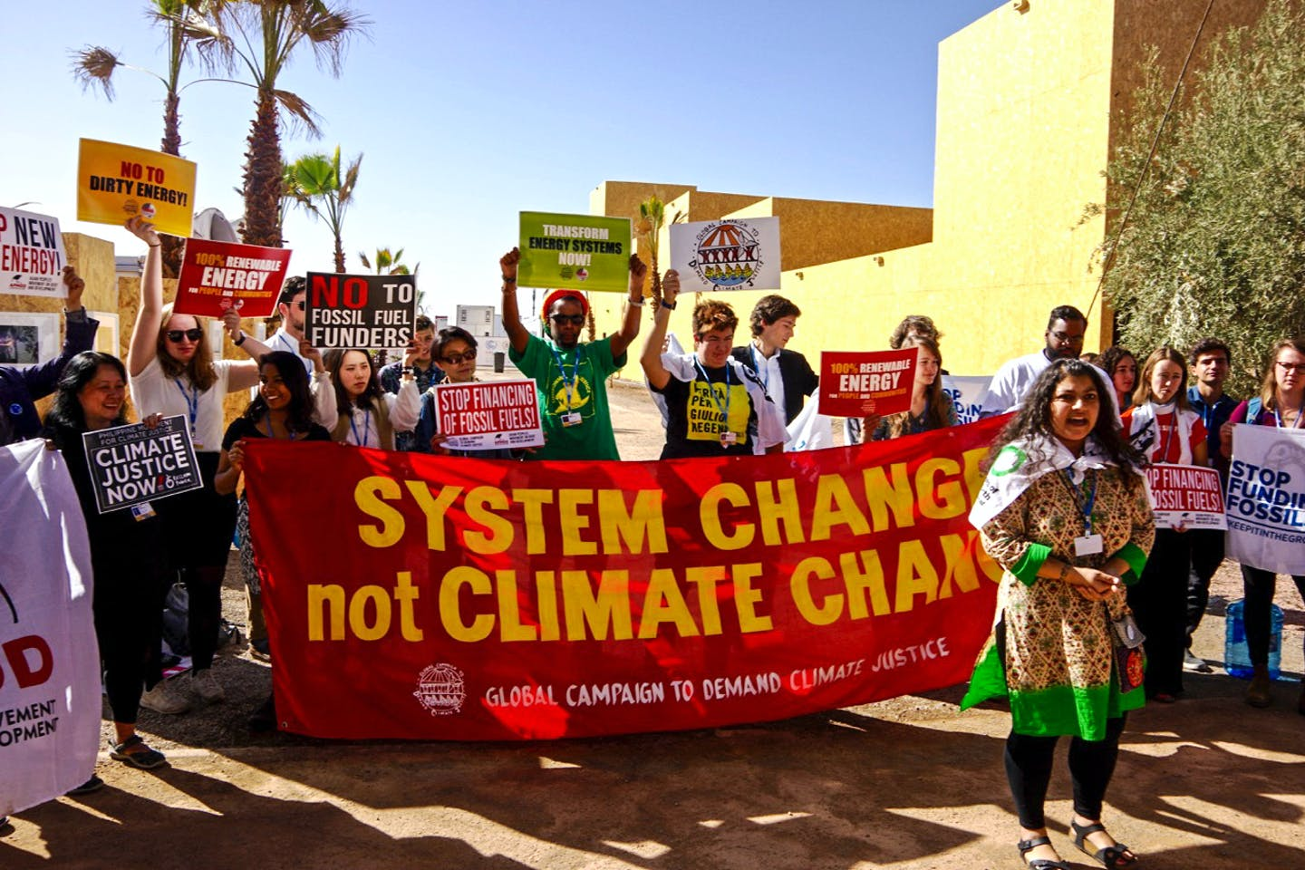 Friends of the Earth International and allies protesting at COP 22 in Marrakesh