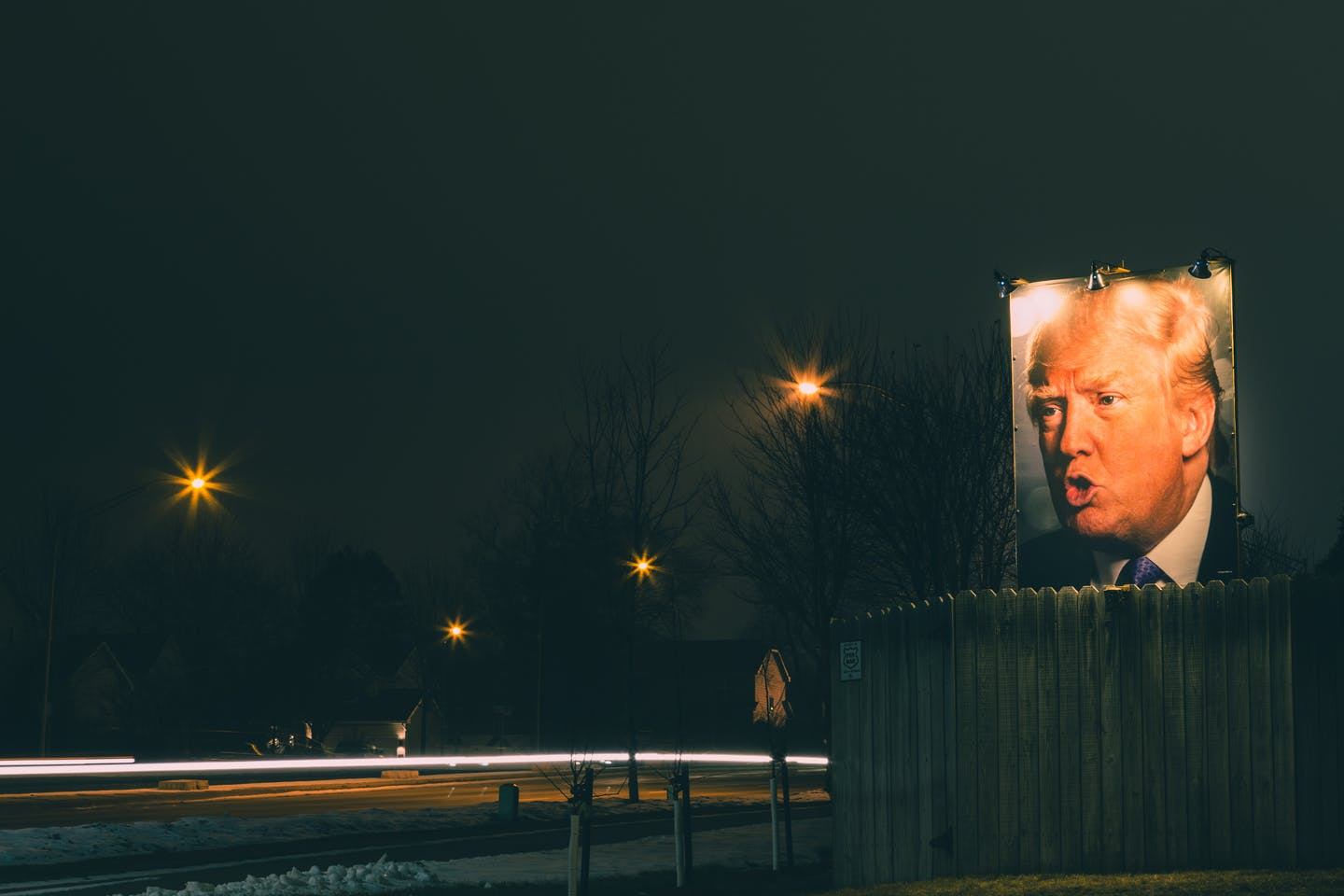 Donald Trump poster in the backyard
