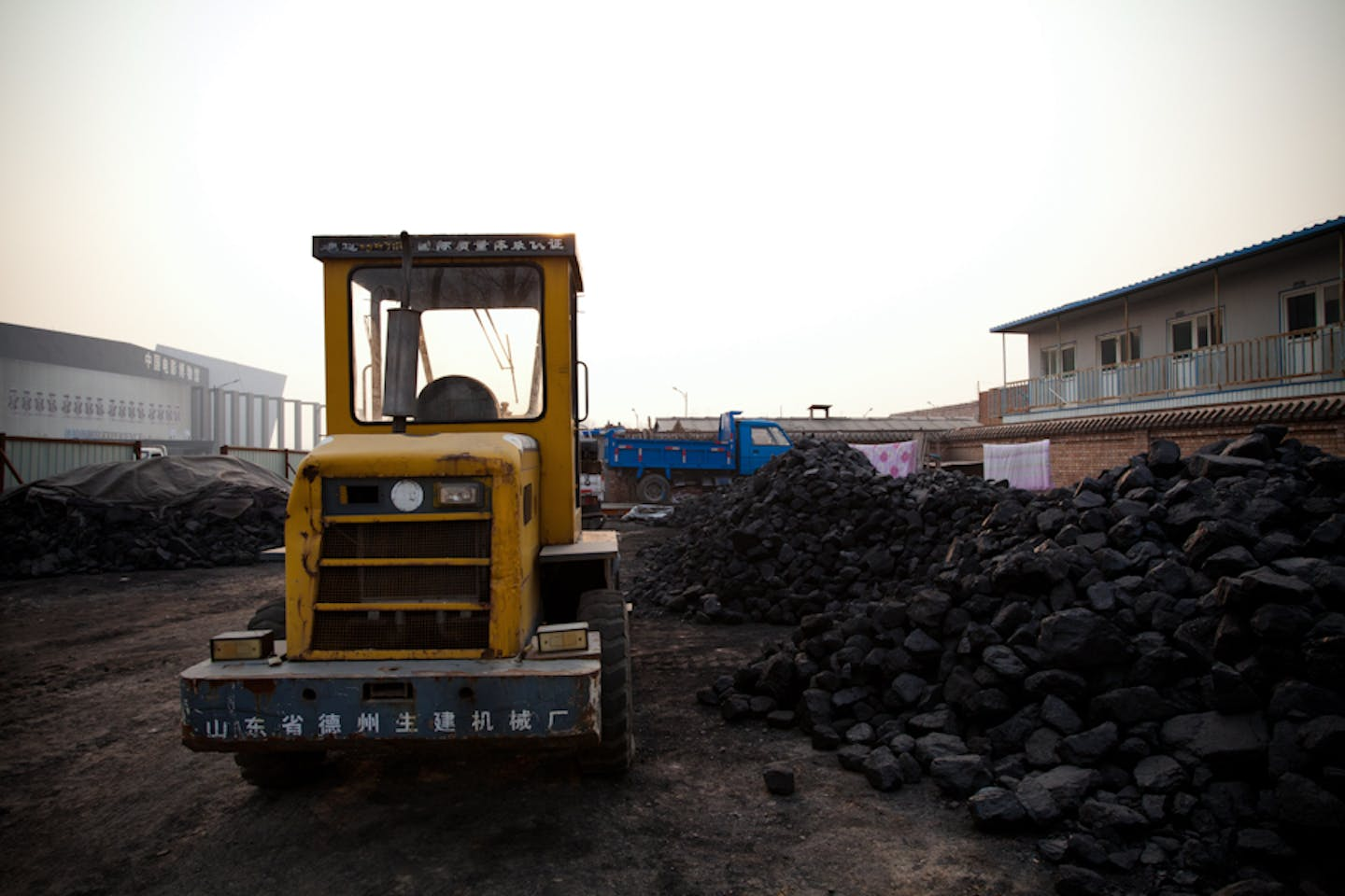 Coal at a construction site in China