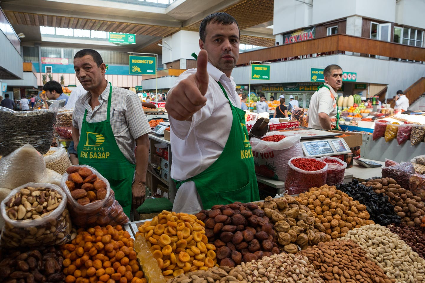 Dried fruits and delicacies sellers in Almaty, Kazakhstan