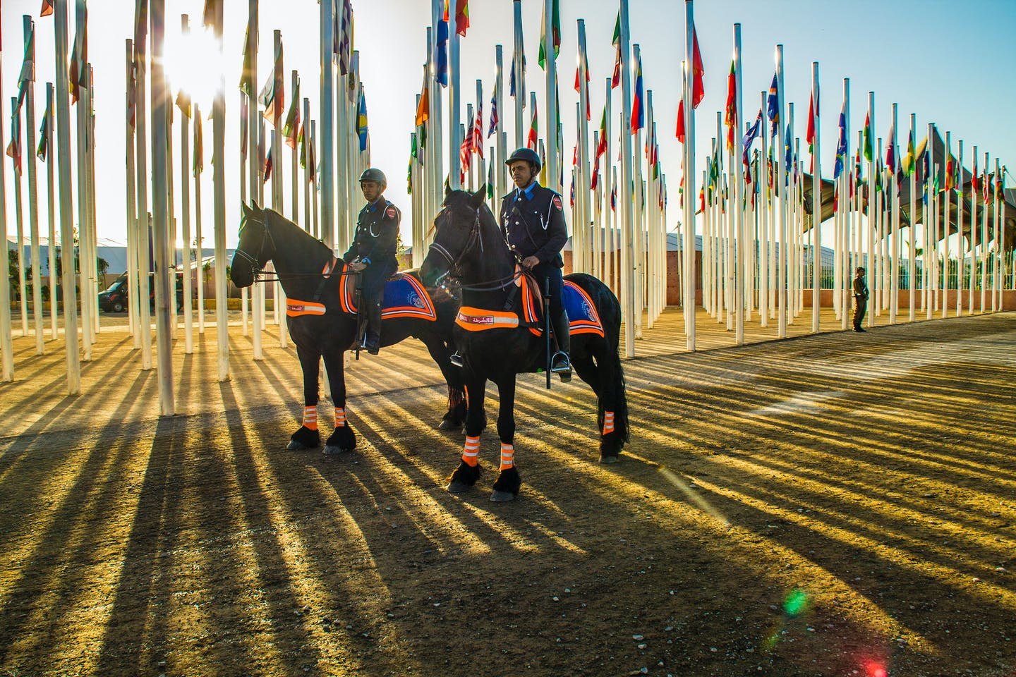 Security forces on horseback at COP22