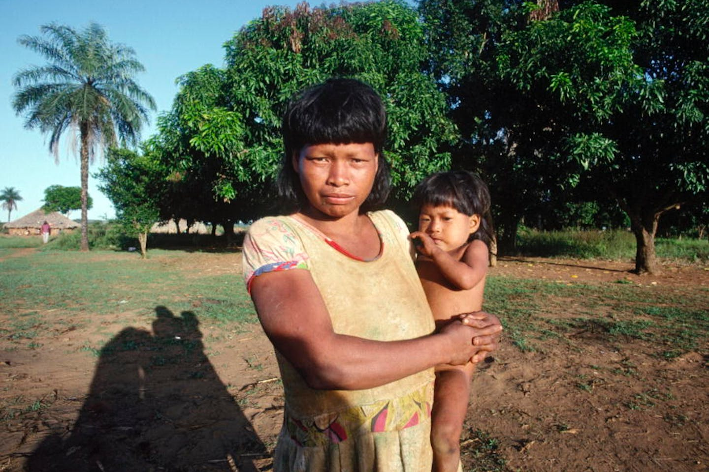 Shavante Indian mother with her baby in Brazil.