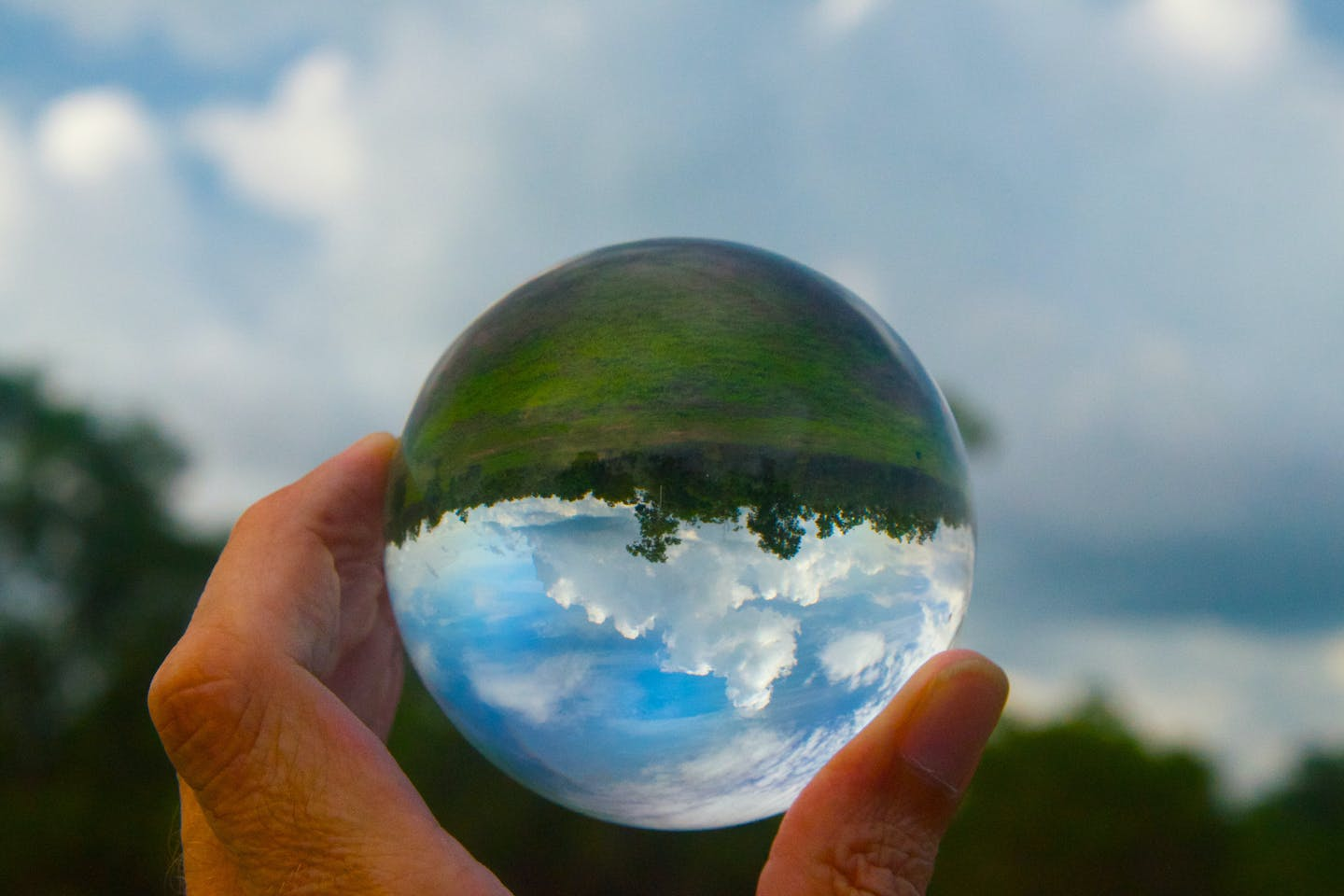 Glass orb and upside down world