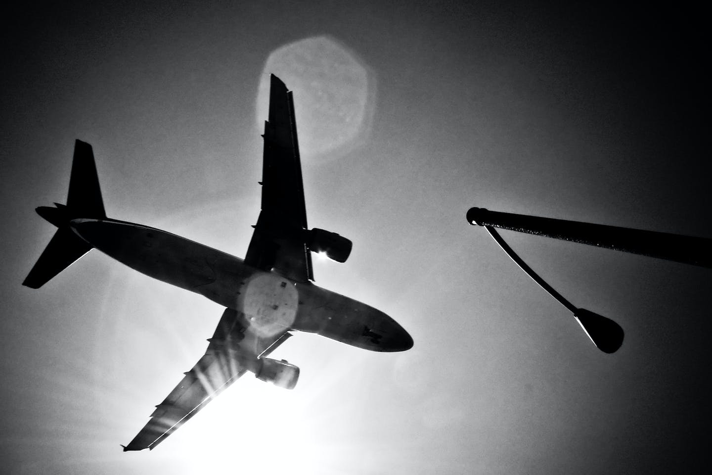 Airplane in grayscale