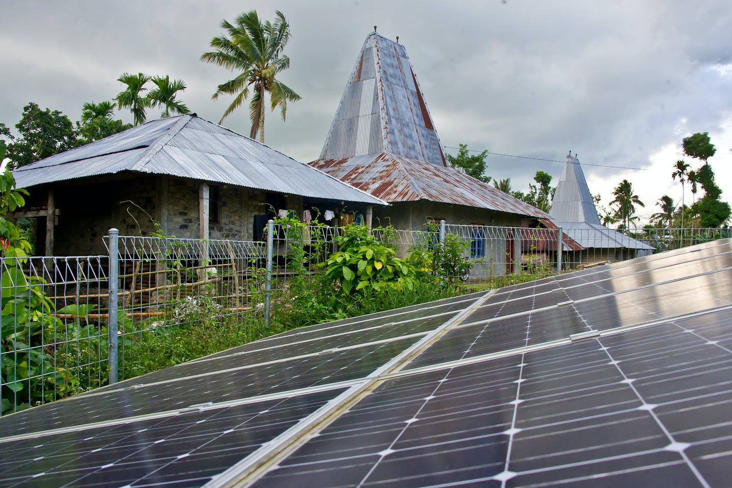 Government-installed solar panels on Sumba Island Indonesia