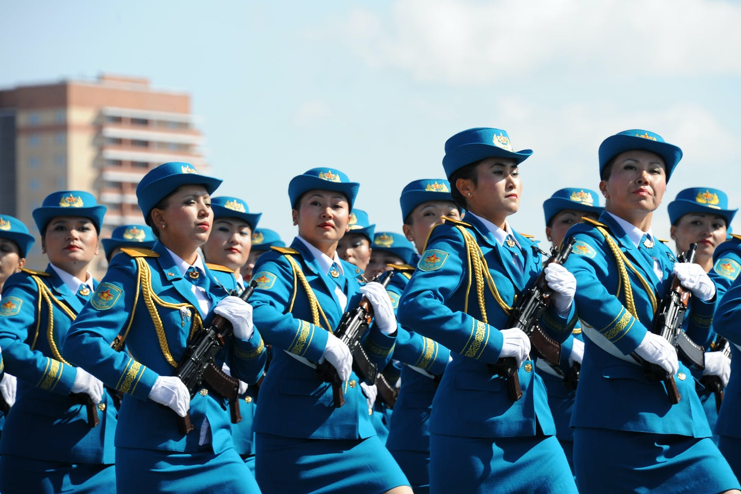 Military parade during Constitution Day in Kazakhstan.