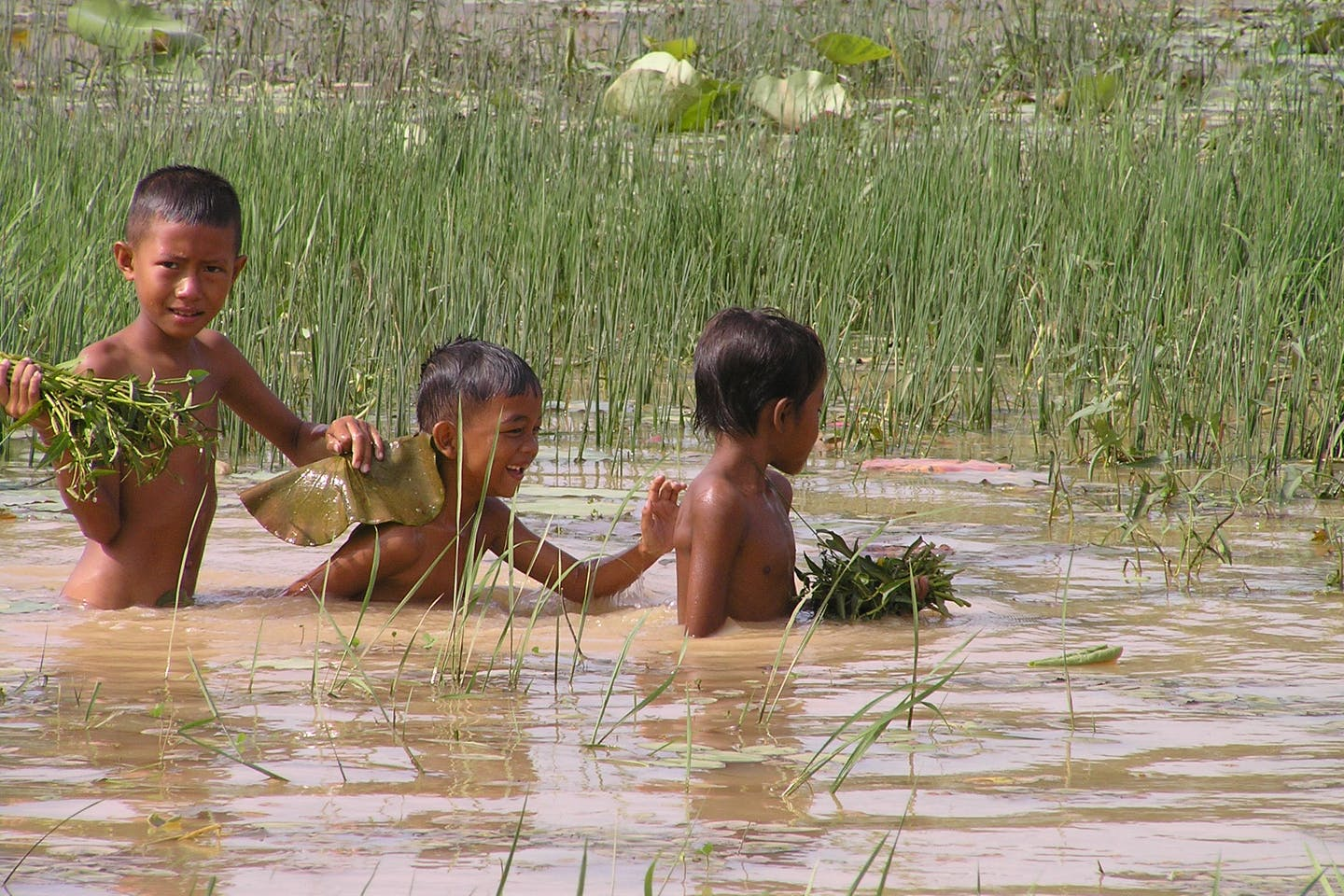 Children playing in the Mekong basin.