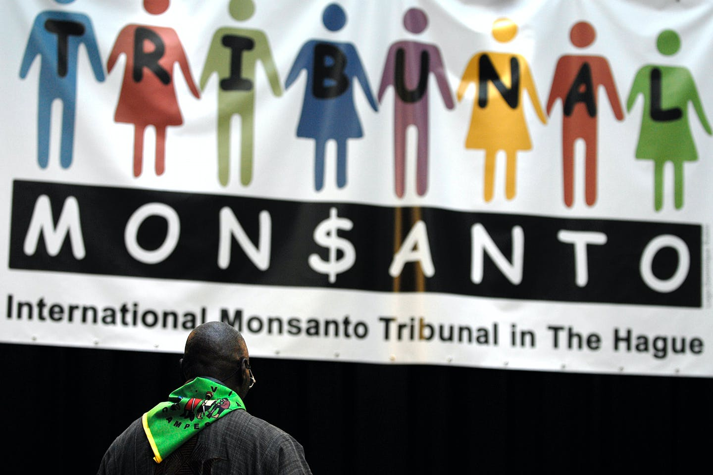 Man at the Monsanto Tribunal people's court