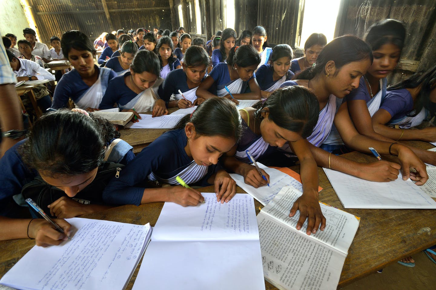 Female students in a school in the northeastern province of Assam, India