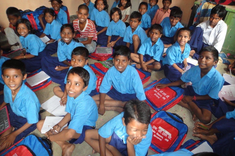 Schoolchildren in class in India