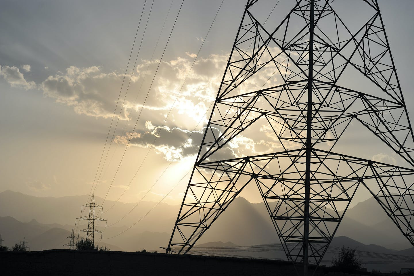 Power transmission lines in Afghanistan