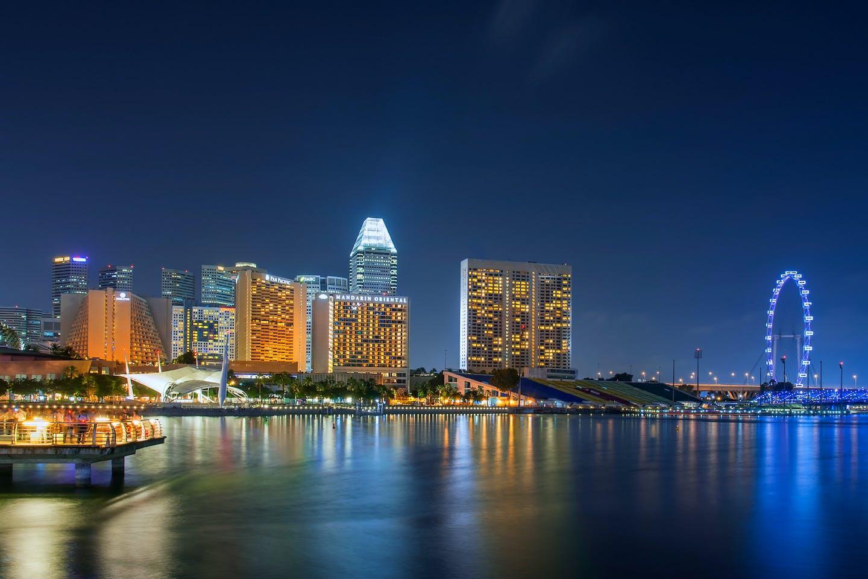 Singapore waterfront at night
