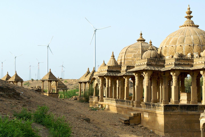 Wind turbines outside of Jaisalmer, Rajasthan, India