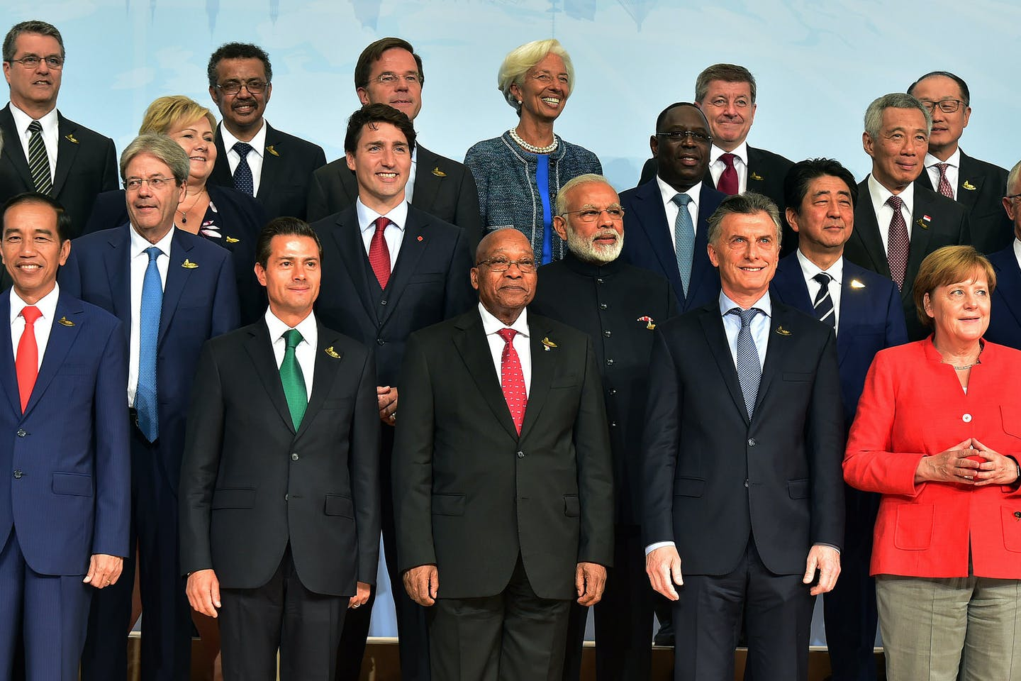 Leaders of the G20 at the 2017 summit in Hamburg, Germany
