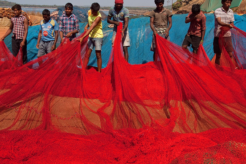 Fishermen in Ratnagiri, India pull in their nets
