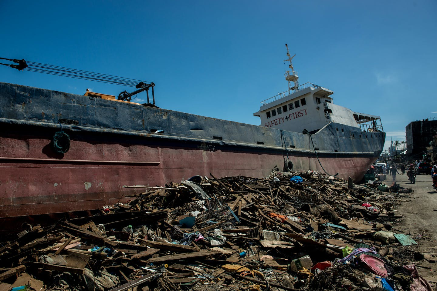 Cargo ship swept ashore by Typhoon Haiyan in the Philippines