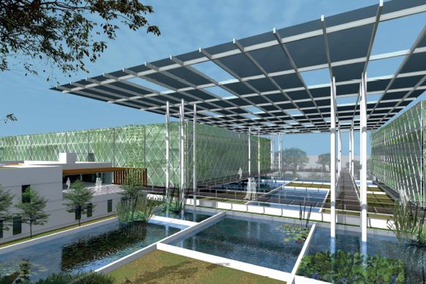 A rendering of the Floating Ponds vertical fish farm conceptualised by Surbana Jurong and Apollo Aquaculture Group