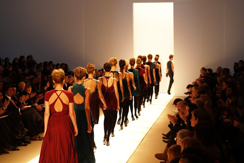 Models on a catwalk New York Fashion Week 2007