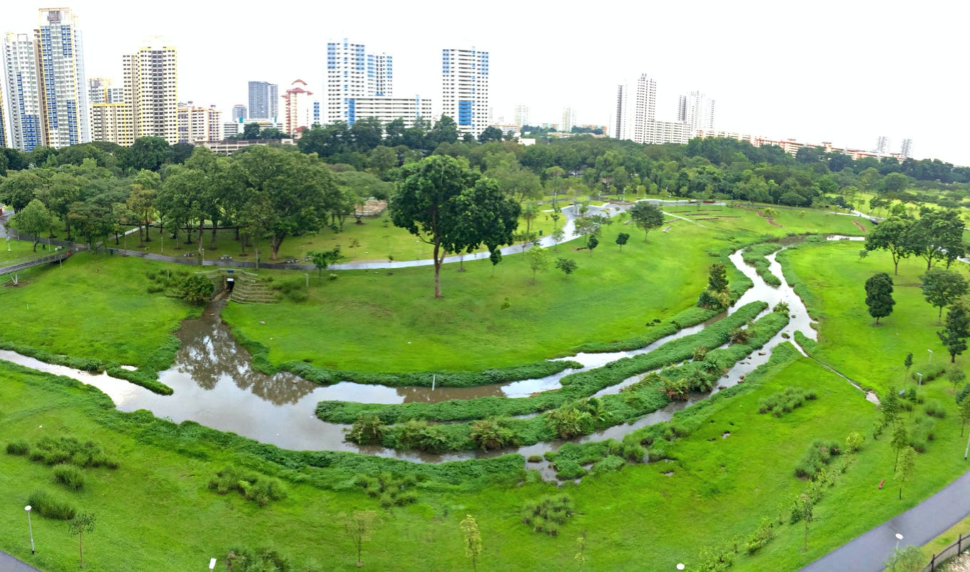 Kallang river basin at Bishan Park