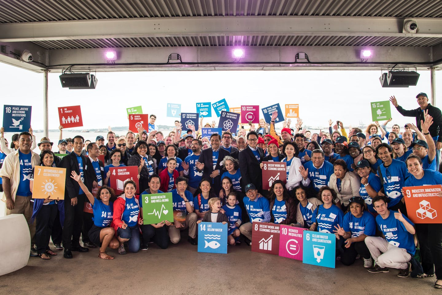 Participants at an event in the US promoting SDG 14, life below water
