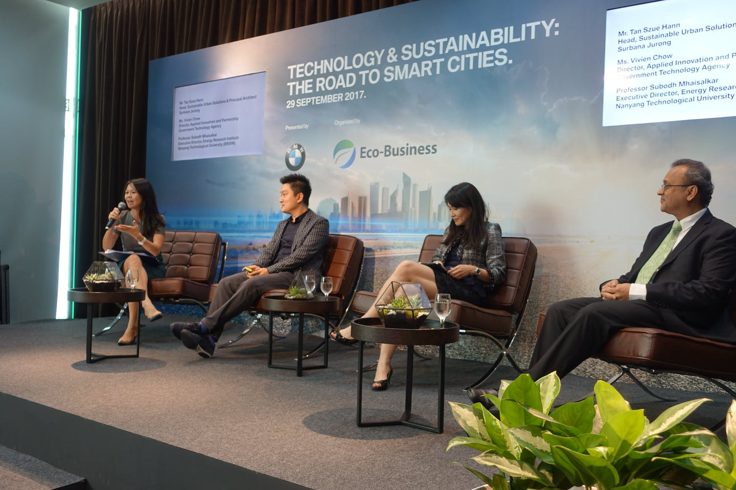 Second photo of Panel discussion at Technology + Sustainability event by Eco-Business and BMW Asia