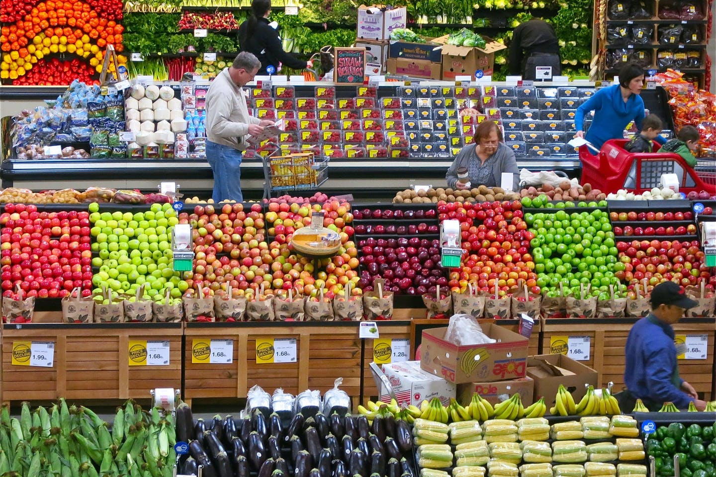 Shoppers browse at a supermarket