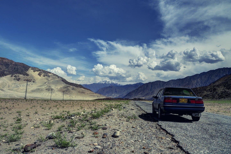A car on the Karakoram highway