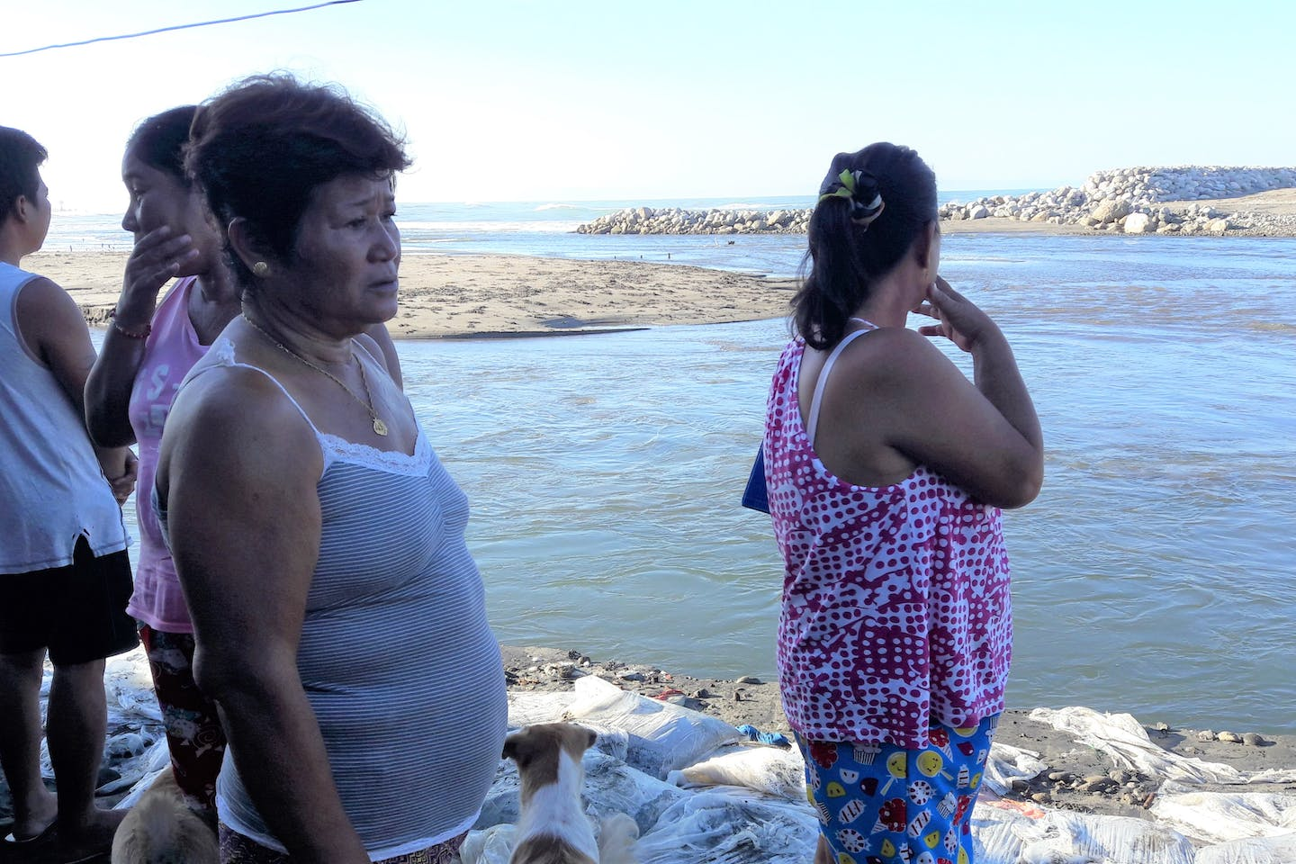 Alaska residents look out to sea