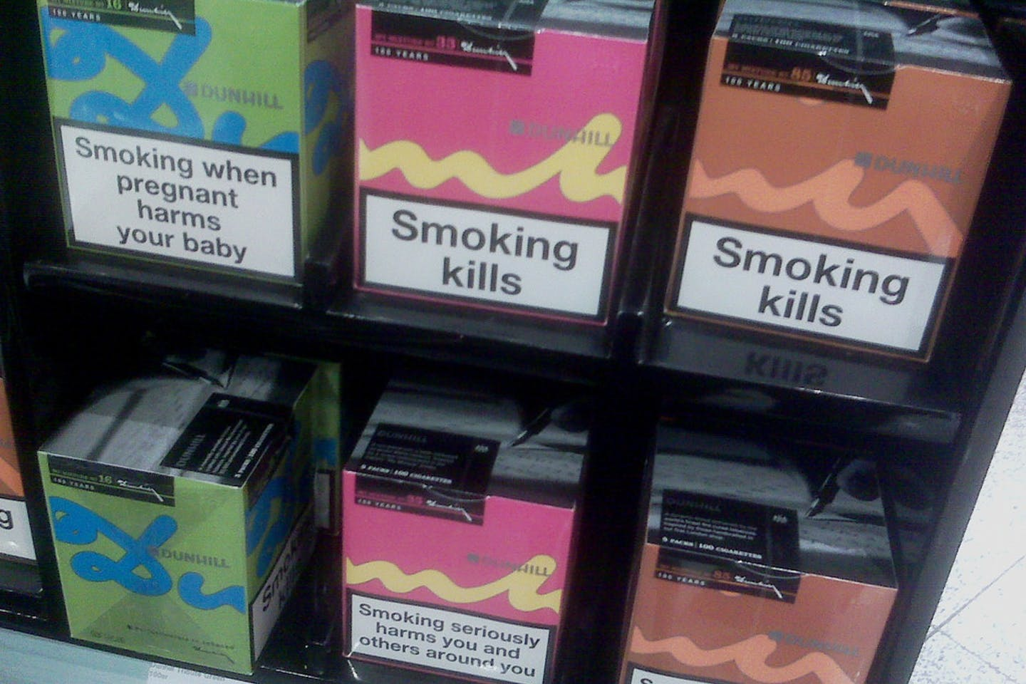 Health warnings on cigarette packets