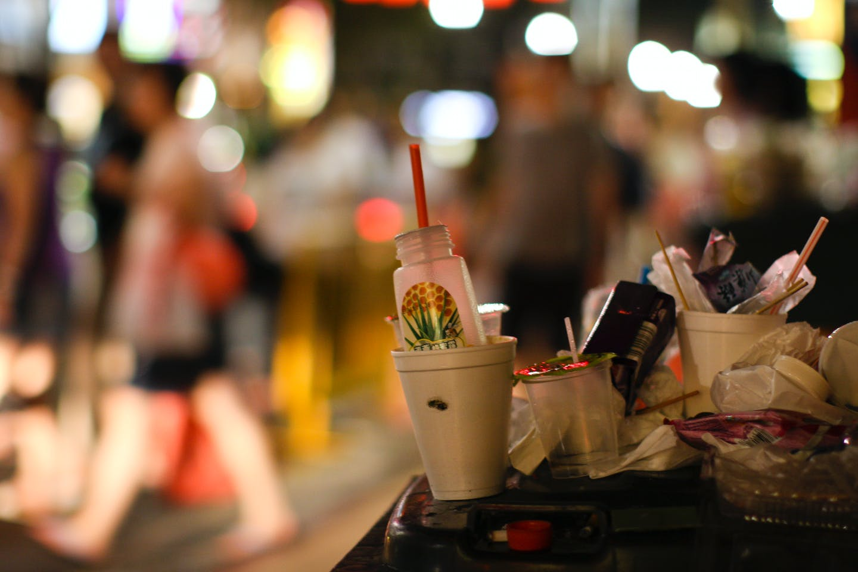 Trash on the sidewalk in Singapore