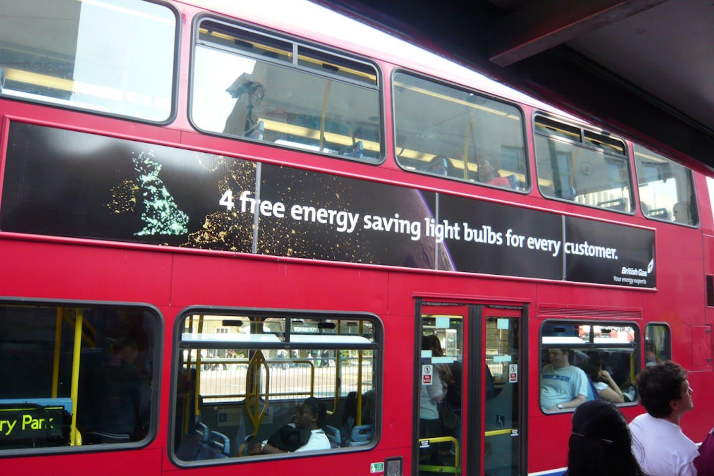 British energy saving ad on bus