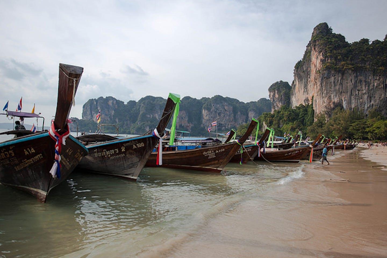 The longtail boats of Rai Leh Beach