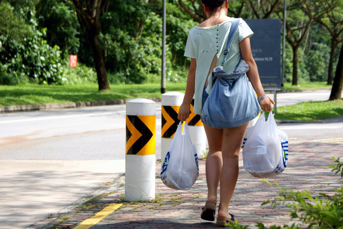 lady in singapore carrying plastic bags