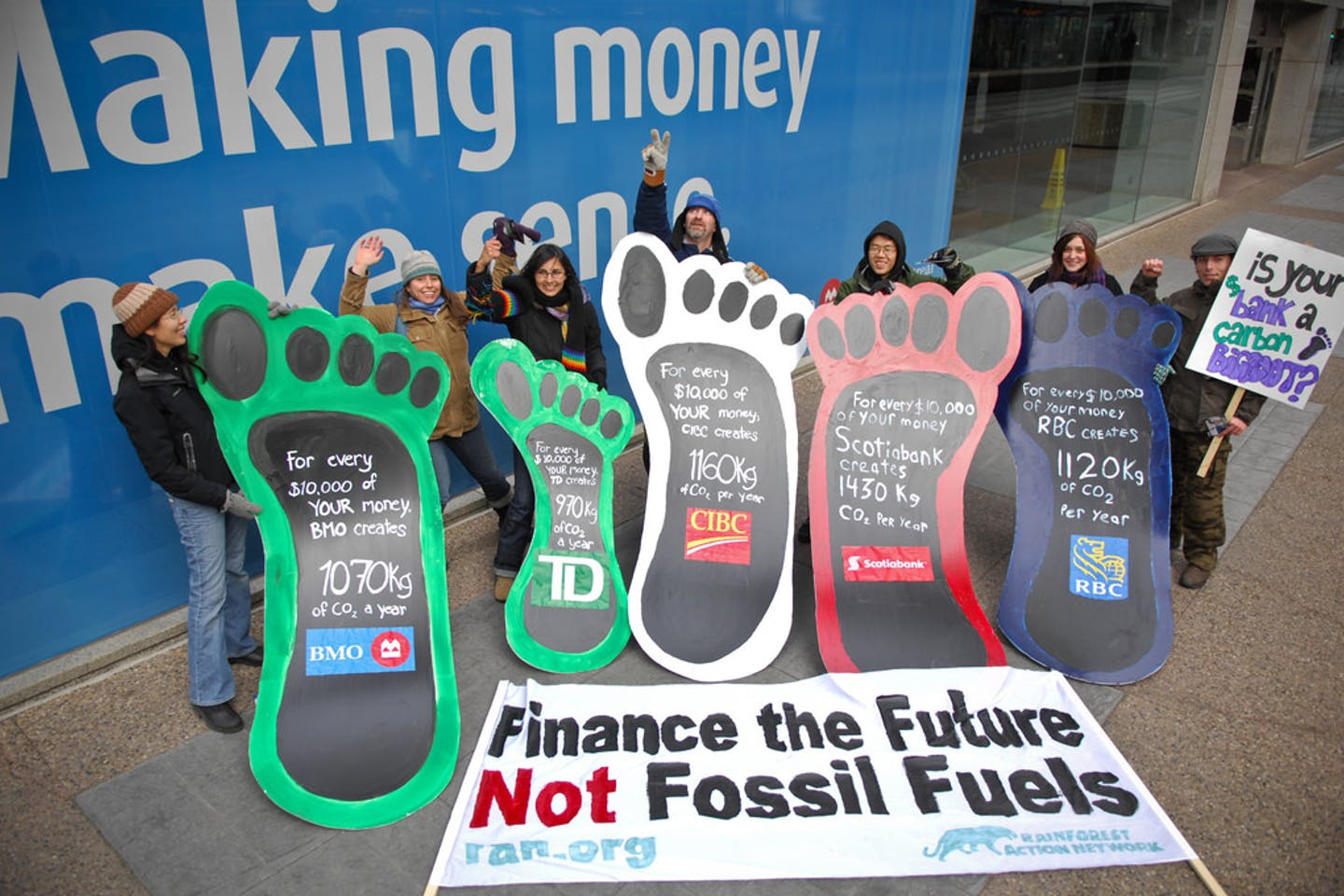 anti fossil fuel financing protest