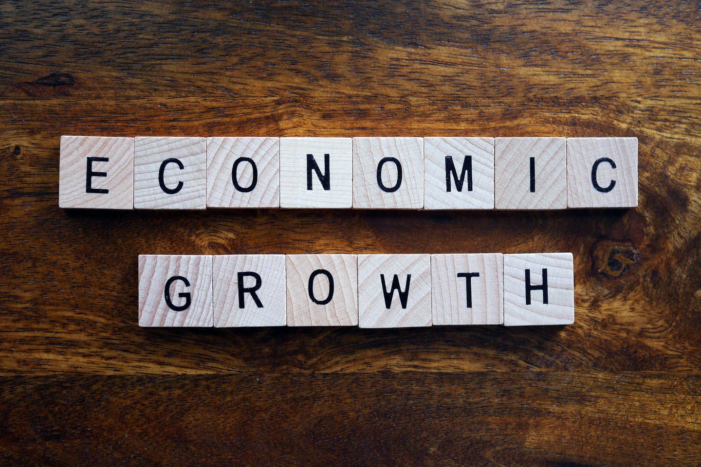 Economic growth spelled out in Scrabble tiles