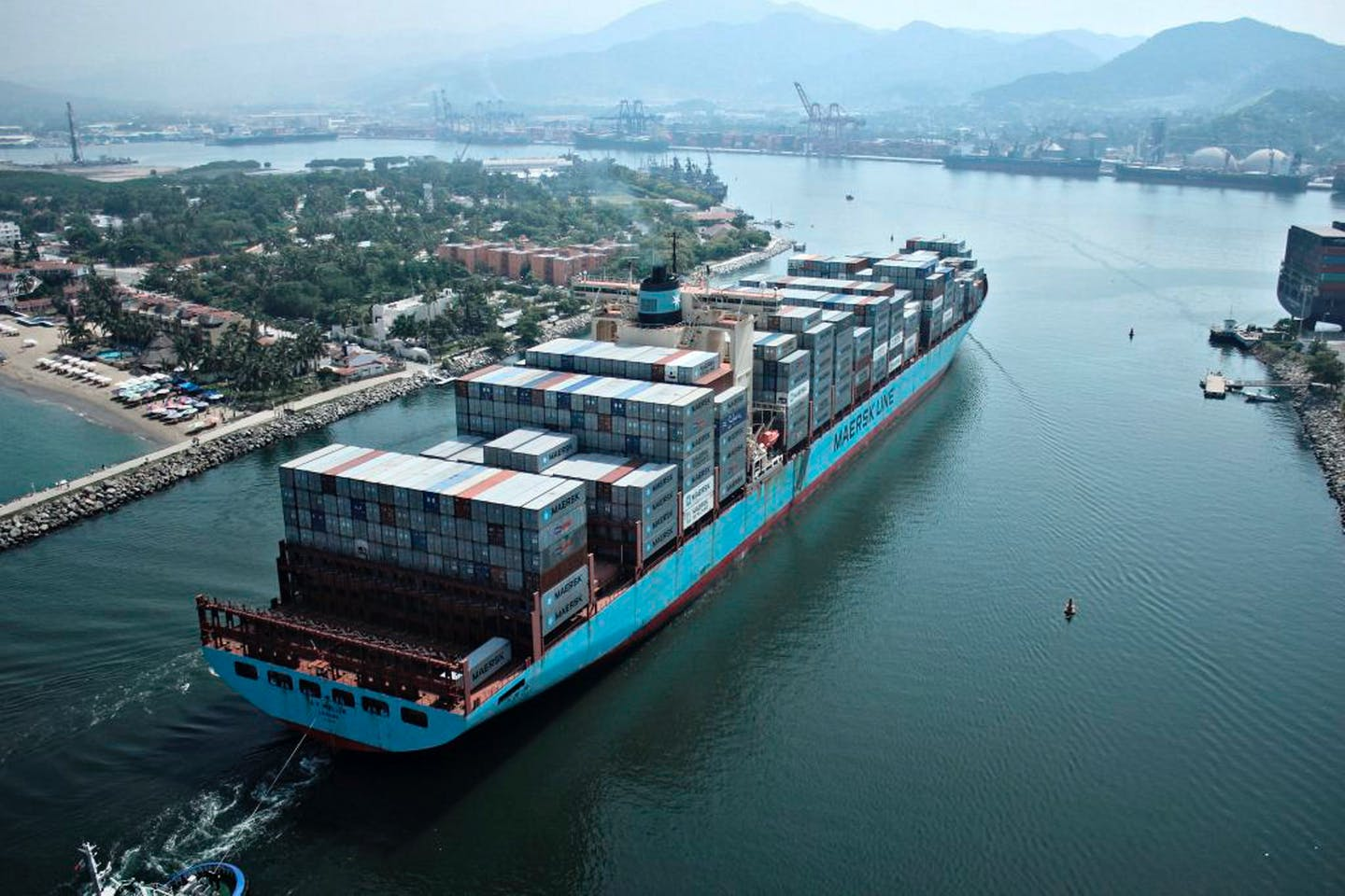 Maersk ship sets sail with cargo
