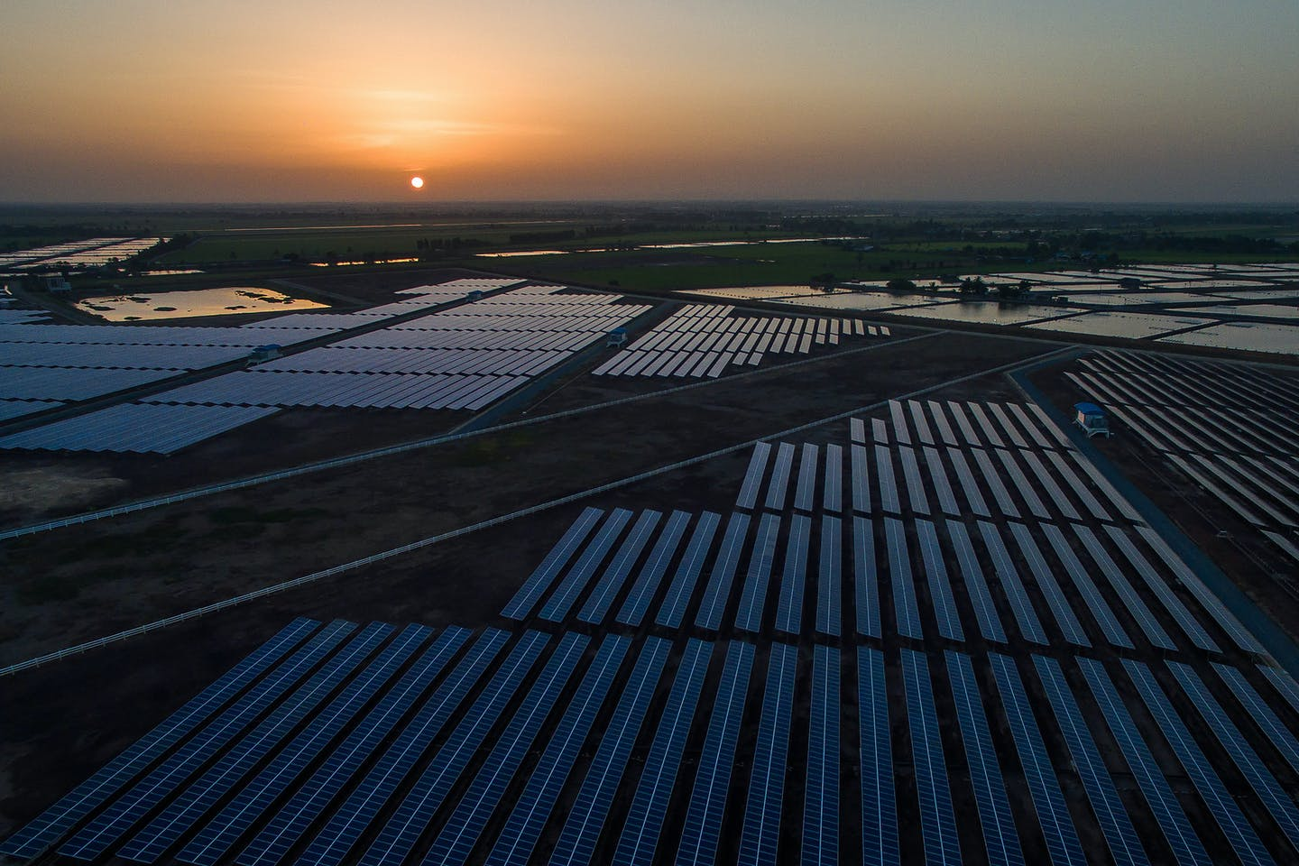 Sunrise at Central Thailand Solar Farm