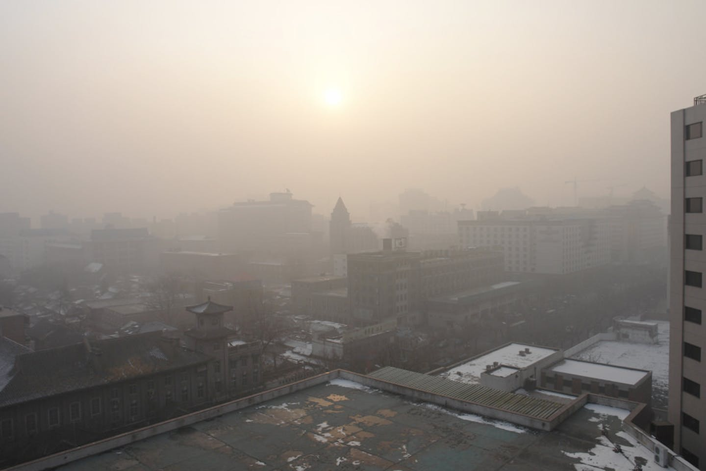 air polluting beijing sun