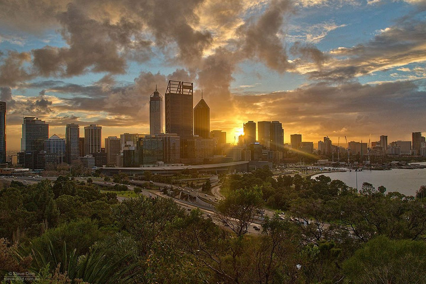 Sunrise behind Perth's central business district