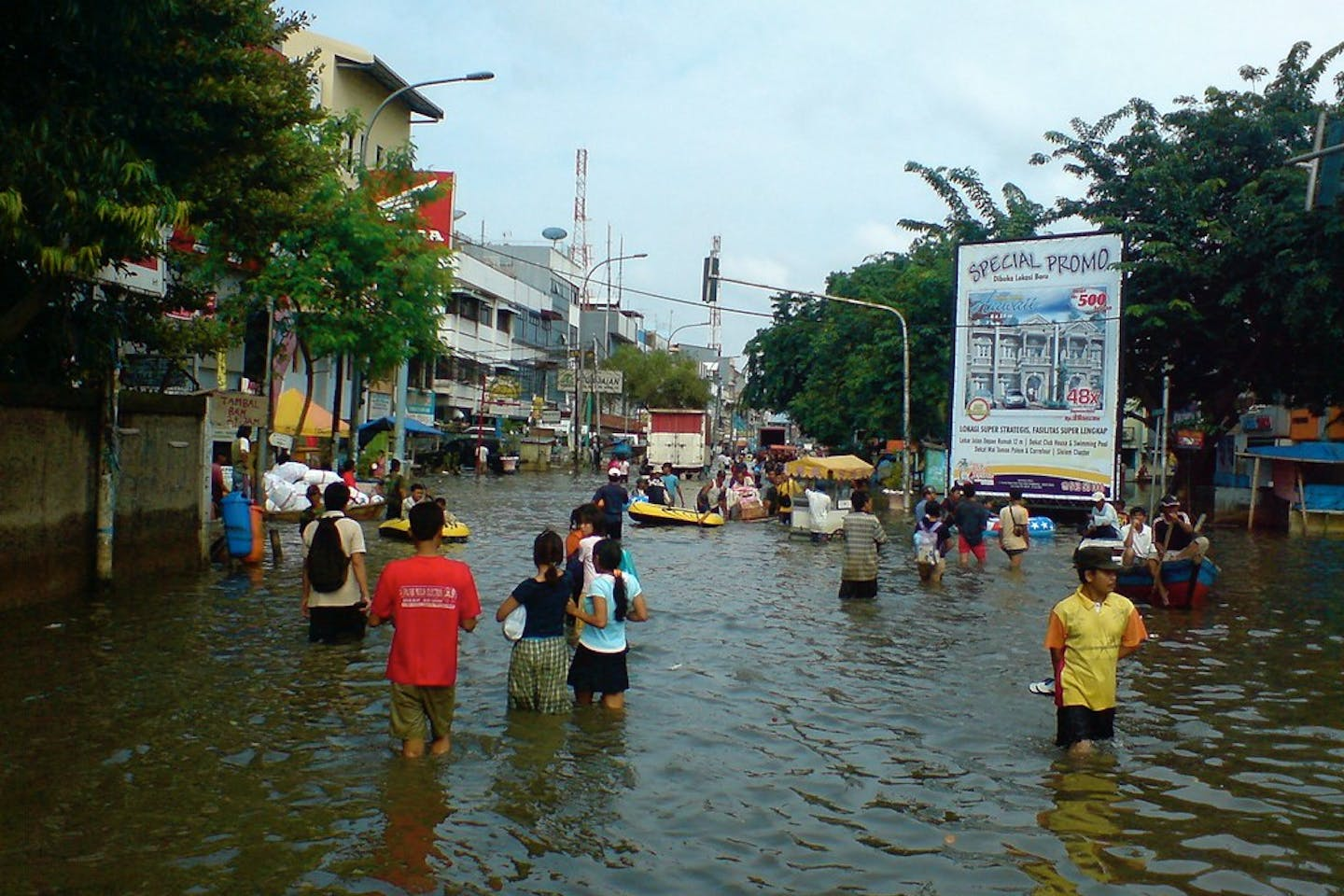 A flooded market in jakarta, Indonesia