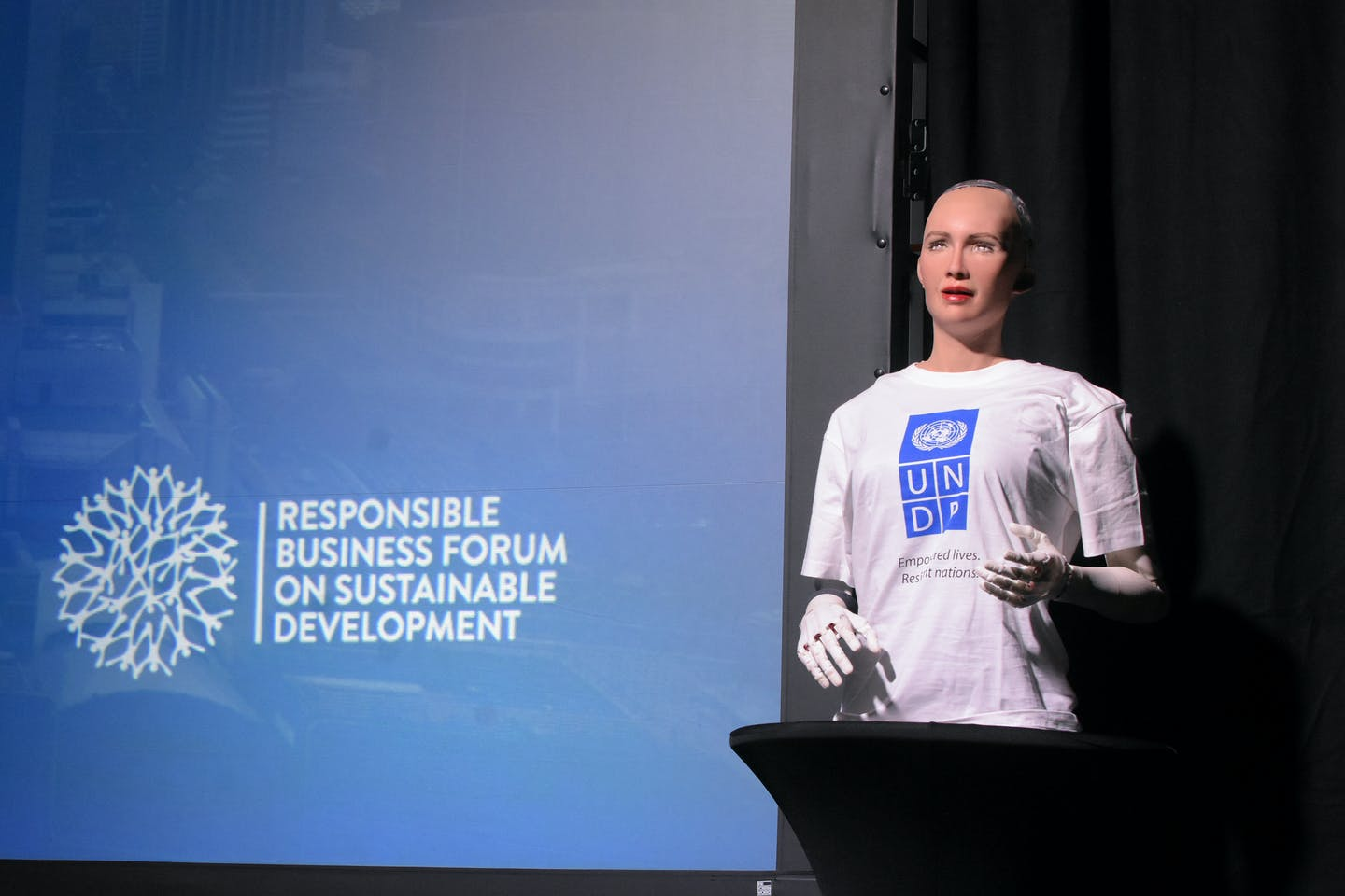 Sophia the robot unveiled as the UNDP's Innovation Champion at the Responsible Business Forum in Singapore, 2017