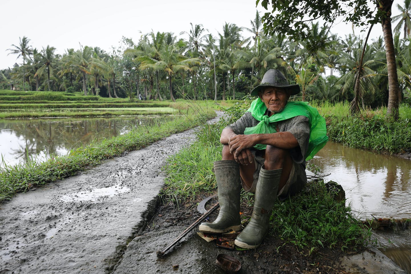 A farmer in Ubud, Bali, Indonesia sits beside his crops