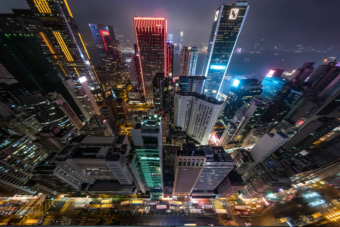 hong kong skyline at night rising from the ground