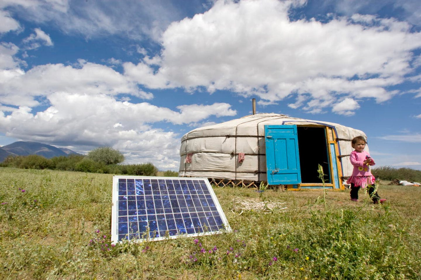 Solar powered ger in Mongolia
