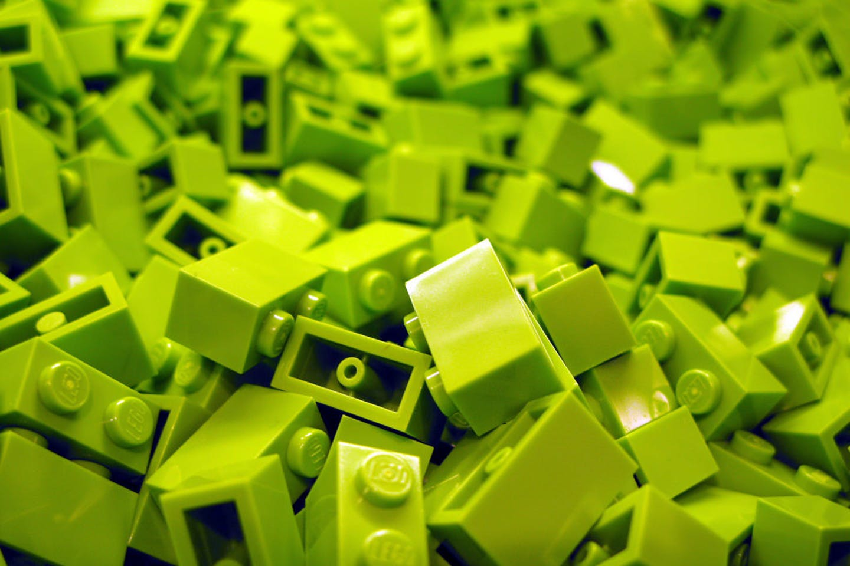 Green coloured lego