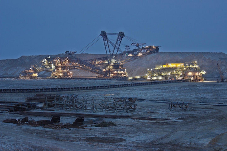 Excavators used in open pit mining
