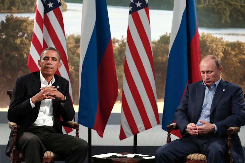 Vladimir Putin and Barack Obama on international talks